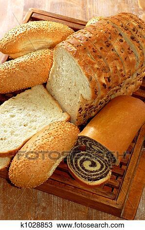 Assortimento, di, pane cotto forno, e, altro, panetteria, prodotti Archivio Immagini