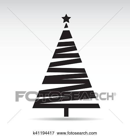Clip Art Of Black Christmas Tree Vector Illustration K41194417