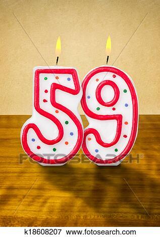 Stock Illustraties Brandende Verjaardag Kaarzen Getal 59