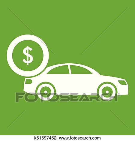 Car and dollar sign icon green Clipart
