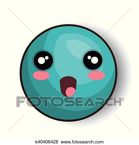 Clip Art Of Cartoon Emoji Blue Smiling Open Mouth K40406428 Search