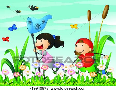 Clip Art Of Kids Playing At The Garden K19940878 Search Clipart
