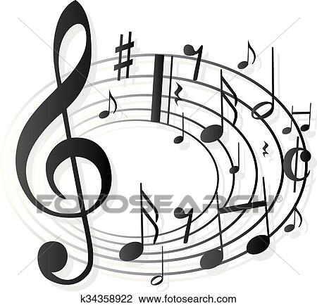 Clipart Of Music Notes Clef K34358922
