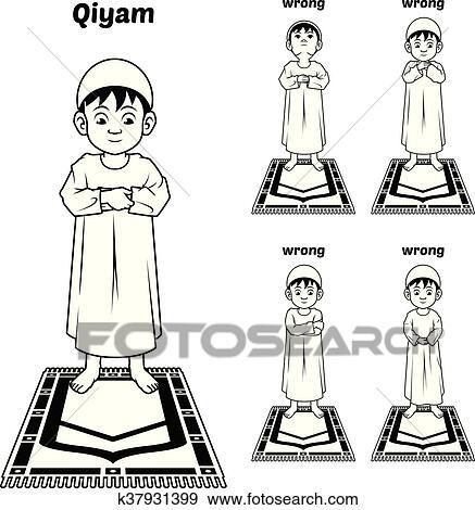 Muslim Prayer Guide Qiyam Position Outline Clip Art