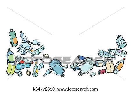 Plastic Waste Ecology And Recycling Clipart K64772650