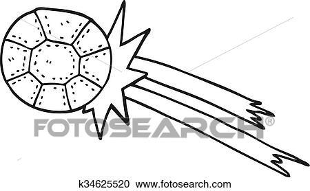 Schwarz Weiss Karikatur Fussball Ball Clipart K34625520