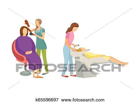 Spa procedure for hair in beauty salon cartoon set clip for Uniform spa vector