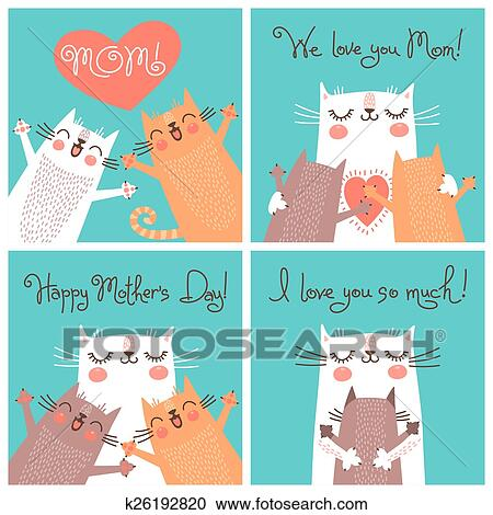 Terrific Sweet Cards For Mothers Day With Cats Clipart K26192820 Funny Birthday Cards Online Fluifree Goldxyz