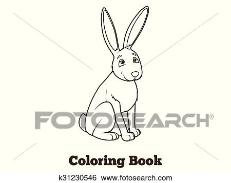 Wald Tier Hase Karikatur Ausmalbilder Vektor Clip Art