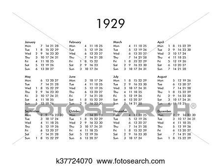 Calendario 1929.Kalender Von Jahr 1929 Clipart