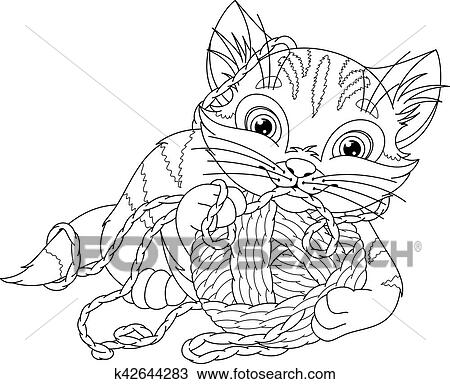 Clipart Of Kitten Coloring Page K42644283 Search Clip Art