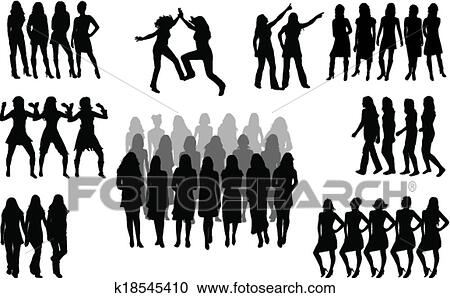 Clipart Of Large Group Of Women Silhouette Vector K18545410