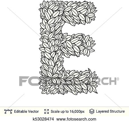 Clipart Of Letter E Symbol Of White Leaves K53028474 Search Clip