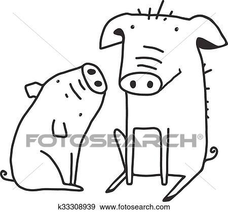 Clip Art - lindo, cerdos, contorno, divertido, ilustración, para ...