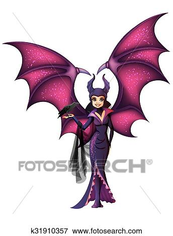 Maleficent With Wings Cartoon Character Isolated Clip Art