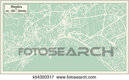 Naples Italy City Map in Retro Style. Outline Map. Clip Art