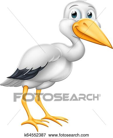 Stork Cartoon Pregnancy Myth Bird With New Baby Clip Art K64552387 Fotosearch