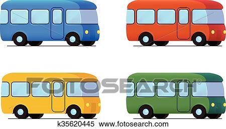 clipart vecteur dessin anim autobus ic ne set couleur voiture k35620445 recherchez. Black Bedroom Furniture Sets. Home Design Ideas