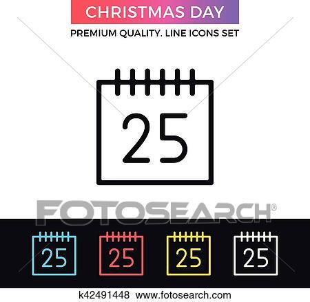 Page Calendrier.Vecteur Jour Noel Icon Calendrier Page A 25 Decembre Date Ligne Mince Icone Clipart