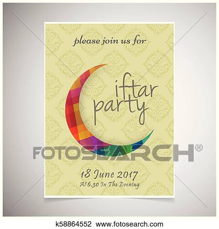 Elegant Iftar Party Invitation Card Design Decorated On