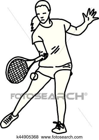 Clip Art Of Female Tennis Player