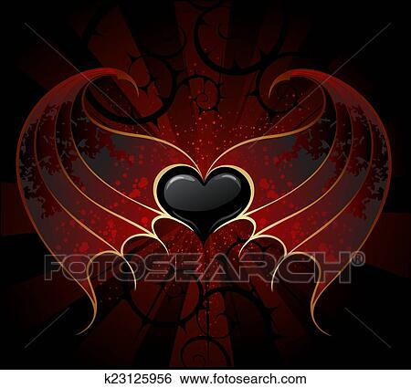 Gothic Black Heart Of A Vampire With Skin Membranous Wings The Dark Luminous Background