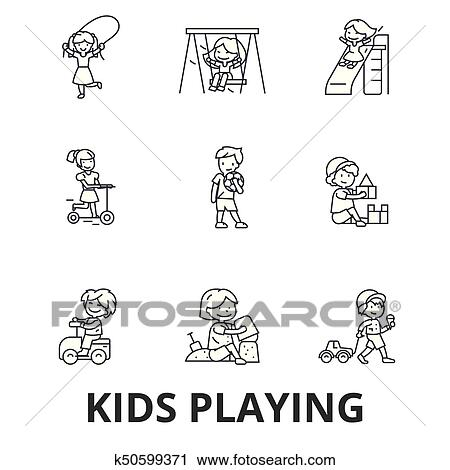 Clipart of Kids Watching a Chipmunk Run Outside - Black and White Outline  by Picsburg - #9401
