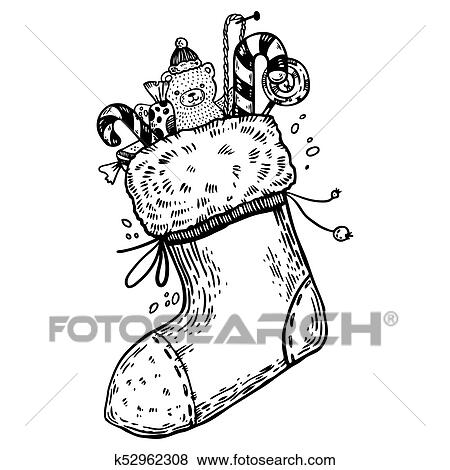 Meia Calca Natal Gravura Vetorial Clipart K52962308 Fotosearch