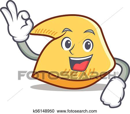 clipart of okay fortune cookie character cartoon k56148950 search rh fotosearch com fortune cookie clipart free fortune cookie clipart