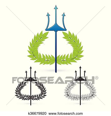 Clipart Of Olive Branch With Trident Symbol Of Greek God Poseidon