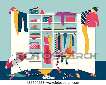 Open Wardrobe White Closet With Untidy Clothes Shirts Sweaters Boxes And Shoes Home Mess Interior Flat Design