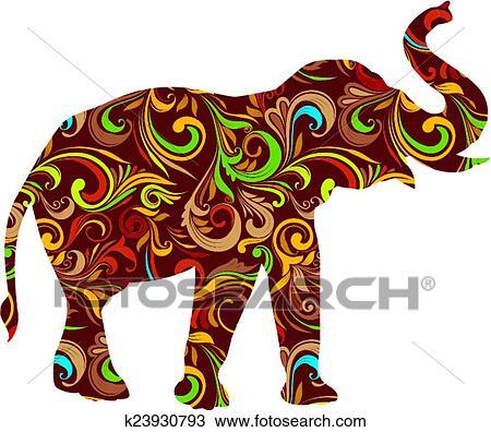 Red Elephant Ornamental Clipart | k23930793 | Fotosearch