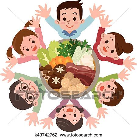 Smile Of The Large Family That Rejoice In Casserole Clipart