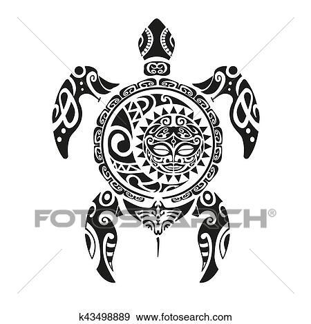 395ea37ba Clip Art - Turtle tattoo in Maori style. Vector illustration EPS10.  Fotosearch