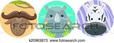 Animais Safari Adesivos Clipart K20963873 Fotosearch