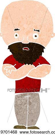 Cartone animato abbicare uomo calvo con barba clip art