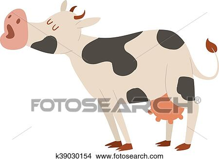 cartoon cow character isolated clipart k39030154 fotosearch fotosearch