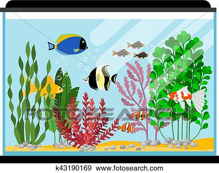 Clipart dessin anim poissons dans aquarium mer ou for Aquarium poisson rouge dessin