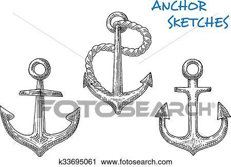 Dibujos De Viejo Barco Anclas Con Soga Clipart K33695061