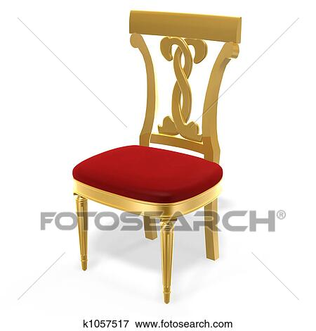 3d Golden Luxury Royal Chair On White Background