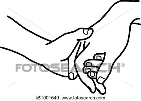 Hand Of Lover Holding With Love Vector Illustration Sketch