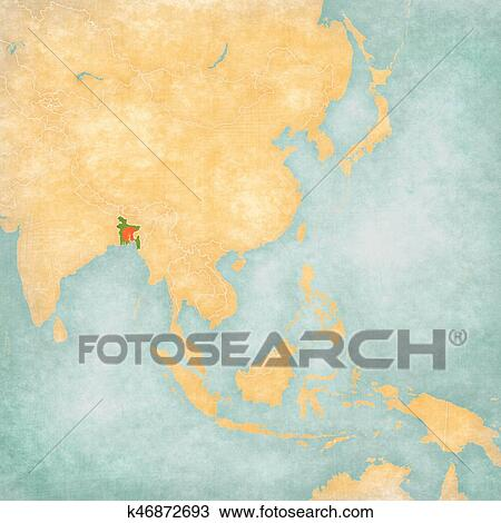 Bangladesh On Map Of Asia.Drawing Of Map Of East Asia Bangladesh K46872693 Search Clipart