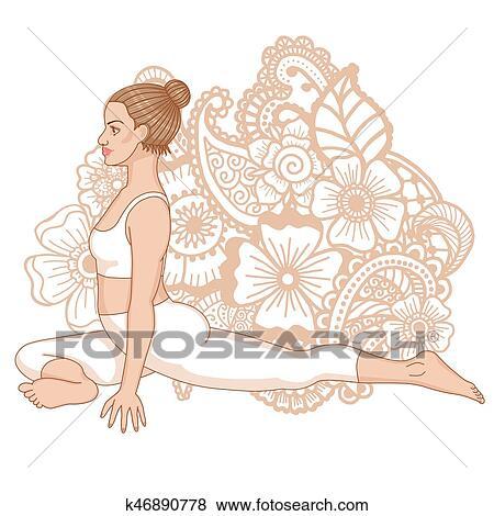 women silhouette pigeon yoga pose kapotasana clip art