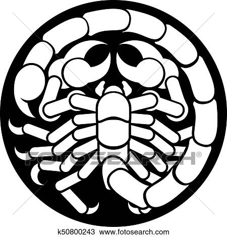 Clipart Of Zodiac Signs Scorpio Scorpion Icon K50800243 Search