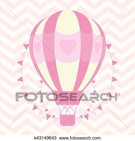 Baby Shower Illustration With Cute Pink Hot Air Balloon On Chevron Background Clipart K43149643 Fotosearch