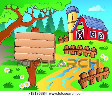 Clipart Bauernhof Thema Mit Rote Scheune 4 K19136384 Suche