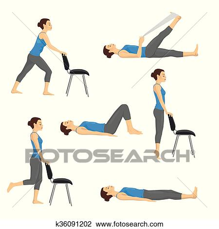 Body Workout Exercise Fitness Training Set Knee Exercises Clipart K36091202 Fotosearch