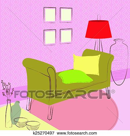 Clip Art of couch in the waiting room k25270497 - Search Clipart ...