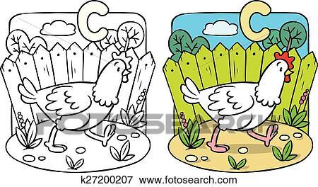 Funny chicken coloring book. Alphabet C Clip Art | k27200207 ...