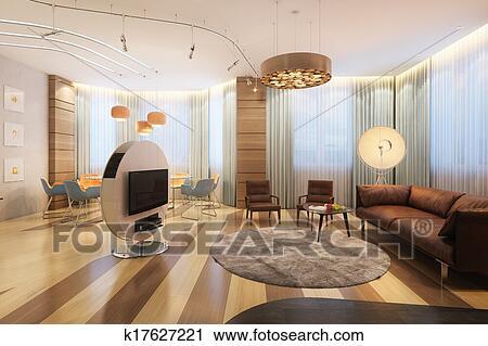 Groß, Luxus, Familie Zimmer, Mit, Fernsehapparat, Und, Sofa, In, Minimalist,  Stil